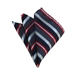 HD-15 | Red, Grey And Navy Striped Woven Handkerchief