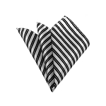 HD-16 | Black And White Striped Woven Handkerchief