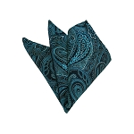 HD-19 | Teal Green, Silver And Black Paisley Woven Handkerchief