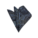 HD-22 | Steel Blue, Gold And Navy Paisley Woven Handkerchief