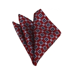 HD-24 | Grey, Silver And Red Geometric Woven Handkerchief