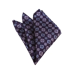 HD-25 | Lavender, Light Blue And Eggplant Geometric Woven Handkerchief