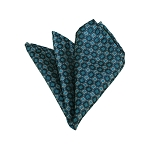 HD-26 | Grey, Black And Teal Green Geometric Woven Handkerchief