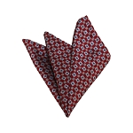 HD-27 | Grey and Red Geometric Woven Handkerchief