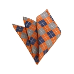 HD-28 | Silver, Blue-Grey And Peach Checkered Woven Handkerchief