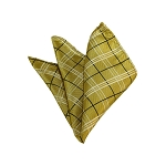 HD-29 | Black, White And Honey Gold Plaid Woven Handkerchief