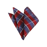 HD-30 | Silver, Blue-Grey And Red Plaid Woven Handkerchief
