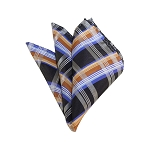HD-31 | Silver, Grey And Gold Plaid Woven Handkerchief