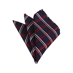 HD-32 | Red, White And Navy Plaid Woven Handkerchief