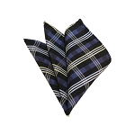 HD-33 | Silver, Blue-Gray And Black Plaid Woven Handkerchief