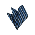 HD-35 | Light Blue, Grey And Black Checkered Woven Handkerchief