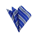 HD-36 | Silver, White And Royal Blue Striped Woven Handkerchief