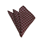 HD-37 | Silver, White And Maroon Geometric Woven Handkerchief