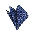 HD-38 | Blue, Silver And Navy Floral Woven Handkerchief