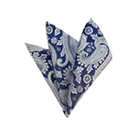 HD-41 | Silver, White And Blue Paisley Woven Handkerchief