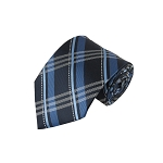J-144 | Multi-Shaded Blue Tartan Plaid Woven Necktie