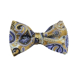 DB-03 | Pre-Tied Steel Blue on Antique Gold Woven Paisley Bow Tie