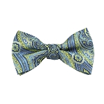 DB-06 | Pre-Tied Lime Green and Steel Blue Woven Paisley Bow Tie