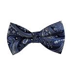 BL-16 | Royal Blue, Silver and Black Floral Paisley Woven Pre-Tied Bow Tie