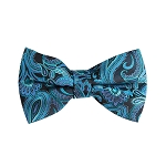 BL-17 | Turquoise Blue, Steel Blue and Black Paisley Woven Pre-Tied Bow Tie