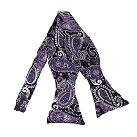 DBS-03 | Self Tie Purple, White and Black Woven Paisley Bow Tie