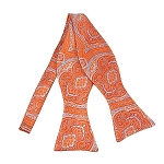 DBS-06 | Self Tie Tangerine and Sky Blue Woven Paisley Bow Tie
