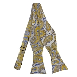 DBS-12 | Self Tie Mustard and Steel Blue On Platinum Woven Paisley Bow Tie