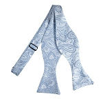 BLS-15 | Self Tie Light and Steel Blue Floral Paisley Woven Bow Tie