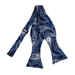 BLS-16 | Self Tie Royal Blue, Silver and Black Floral Paisley Woven Bow Tie