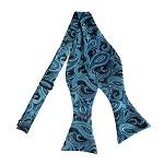 BLS-17 | Self Tie Turquoise Blue, Steel Blue and Black Paisley Woven Bow Tie