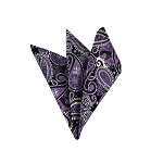 DH-02 | Purple, White and Black Woven Paisley Handkerchief