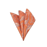 DH-05 | Tangerine and Sky Blue Woven Paisley Handkerchief