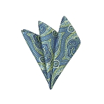 DH-06 | Lime Green and Steel Blue Woven Paisley Handkerchief
