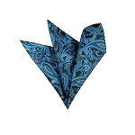 LH-17 | Turquoise Blue, Steel Blue and Black Paisley Woven Handkerchief