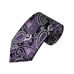 DT-02 | Purple, White and Black Woven Paisley Necktie
