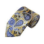 DT-03 | Steel Blue on Antique Gold Woven Paisley Necktie