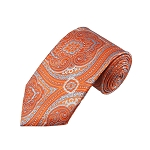 DT-05 | Tangerine and Sky Blue Woven Paisley Necktie