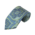 DT-06 | Lime Green and Steel Blue Woven Paisley Necktie