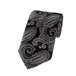 DL-19 | Silver and Black Floral Paisley X-Long Woven Necktie