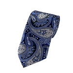 L-16 | Royal Blue, Silver and Black Floral Paisley Woven Necktie
