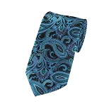 L-17 | Turquoise Blue, Steel Blue and Black Paisley Woven Necktie
