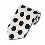 PDB-20 | White and Black Big Polkadot Tie