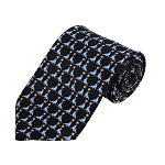 PD-04 | Steel Blue Seal W. Ball Pattern On Black Men's Printed Design Necktie