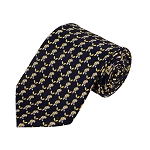 PD-06 | Light Yellow Elephant Pattern On Navy Men's Printed Design Necktie