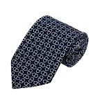 PD-10 | Cream Circular Pattern On Navy Men's Printed Design Necktie