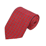 PD-11 | Grey Circular Pattern On Red Men's Printed Design Necktie