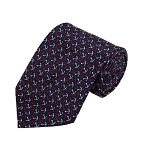 PD-12 | Red/White Anchor Pattern On Navy Men's Printed Design Necktie