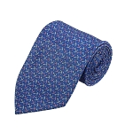 PD-13 | Pink/Cream Anchor Pattern On Steel Blue Men's Printed Design Necktie
