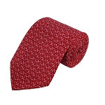 PD-14 | Cream/Copper Anchor Pattern On Red Men's Printed Design Necktie
