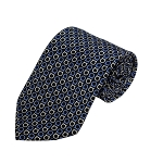 PD-15 | Cream/Steel Blue Horseshoe Pattern On Black Men's Printed Design Necktie
